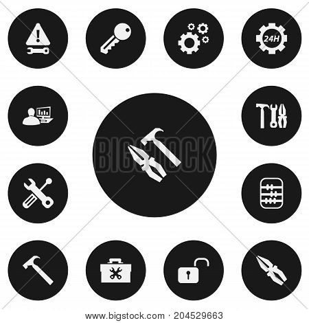 Set Of 13 Editable Mechanic Icons. Includes Symbols Such As Maintenance, Cogwheels, Handle Hit