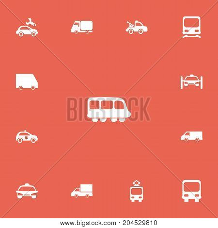 Set Of 13 Editable Transport Icons. Includes Symbols Such As Autobus, Sheriff, Cable Railway And More