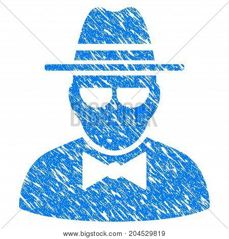 Grunge Secret Agent icon with grunge design and dirty texture. Unclean vector blue pictogram for rubber seal stamp imitations and watermarks. Draft sign symbol.