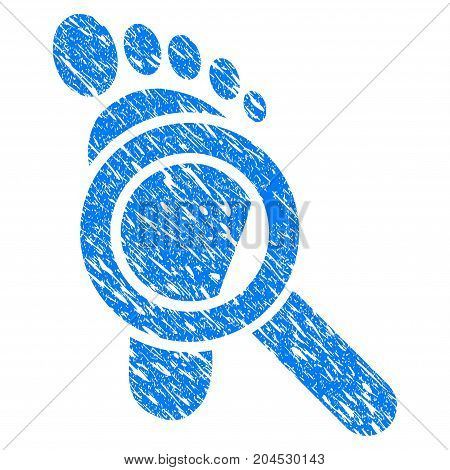 Grunge Trace Detective icon with grunge design and dirty texture. Unclean vector blue pictogram for rubber seal stamp imitations and watermarks. Draft sticker symbol.