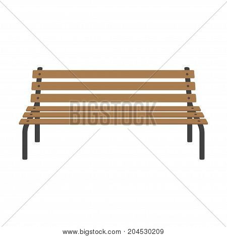Street wooden bench. Street bench isolated on white background. Vector illustration in flat style