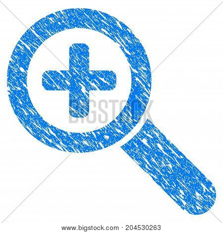 Grunge Zoom In icon with grunge design and dirty texture. Unclean vector blue pictogram for rubber seal stamp imitations and watermarks. Draft emblem symbol.