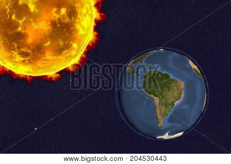 The Sun and the Earth showing South America, 3D illustration. Elements of this image furnished by NASA