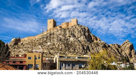 Image of beautiful medieval castle at Sax Valencia in Spain