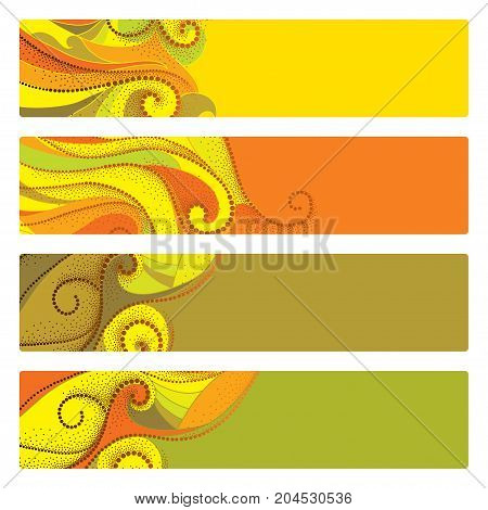 Vector set with abstract autumn banners with dotted swirls isolated on white. Horizontal autumn templates for web design. Abstract autumn elements in dotwork style. Banner, headline or poster for web.