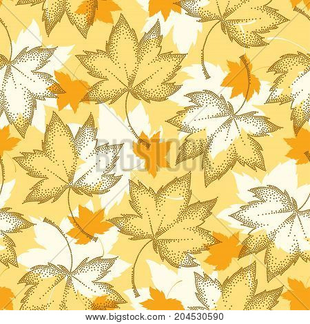 Vector seamless pattern with dotted maple leaves on the orange background. Floral autumn elements in dotwork style. Abstract autumn background with decorative falling maple leaves for September design