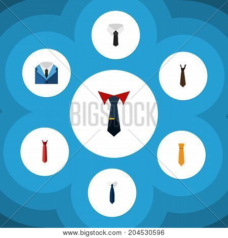 Flat Icon Necktie Set Of Tailoring, Textile, Necktie And Other Vector Objects