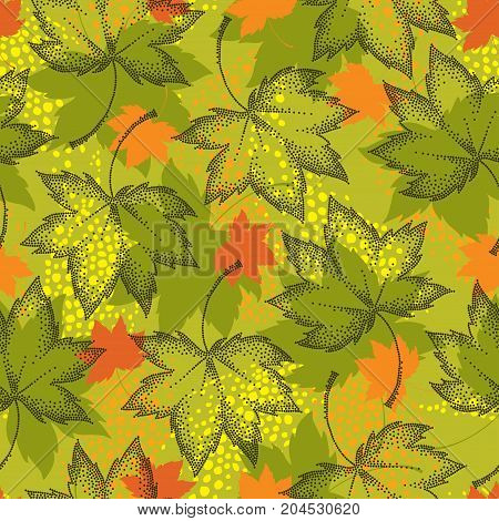 Vector seamless pattern with dotted maple leaves on the khaki background. Floral autumn elements in dotwork style. Abstract autumn background with decorative falling maple leaves for September design