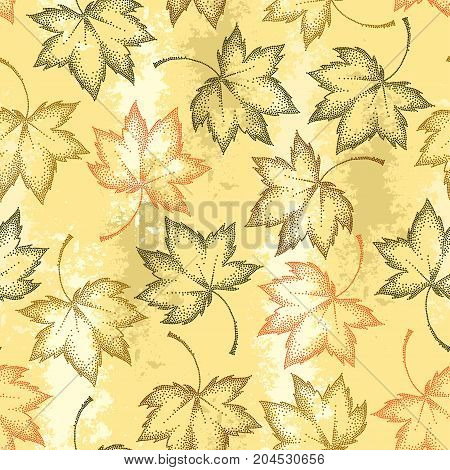 Vector seamless pattern with dotted maple leaves on the pastel beige background. Autumn elements in dotwork style. Abstract autumn background with decorative falling maple leaves for September design