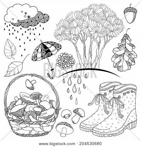 Vector autumn set with outline tree with falling leaves, rubber boots, basket mushrooms, umbrella, rainy cloud and leaves in black isolated on white background for autumn design and coloring book.