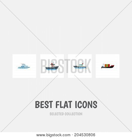 Flat Icon Boat Set Of Boat, Tanker, Transport And Other Vector Objects