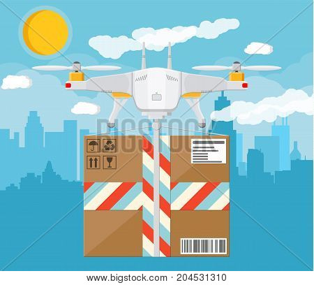 Remote controlled aerial drone. Quadcopter drone with box. Contemporary unmanned aircraft. Cityscape, cloud, sun, sky. Fast delivery and shipping. Vector illustration in flat style