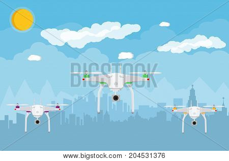 Remote controlled aerial drone in sky. Quadcopter drone with camera for photography or video. Contemporary unmanned aircraft. Cityscape, clouds, sky, sun. Vector illustration in flat style