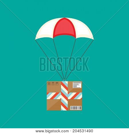 Delivery service, air shipping. Parachute with box. Package flying with parachute in the sky. Vector illustration in flat style