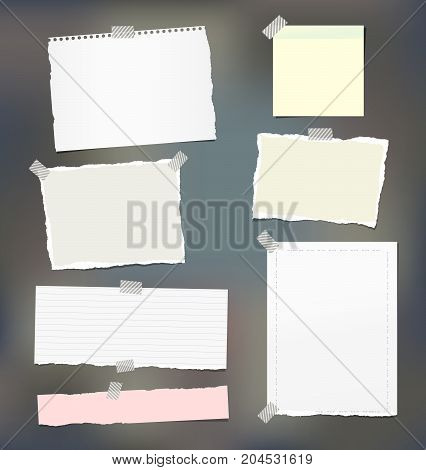 Torn note, notebook, copybook paper strips, sheets stuck with sticky tape on colorful background