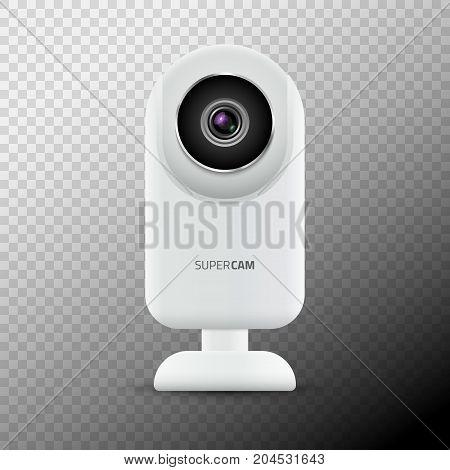 Realistic computer web camera isolated. Video camera technology digital illustration. Webcam device.