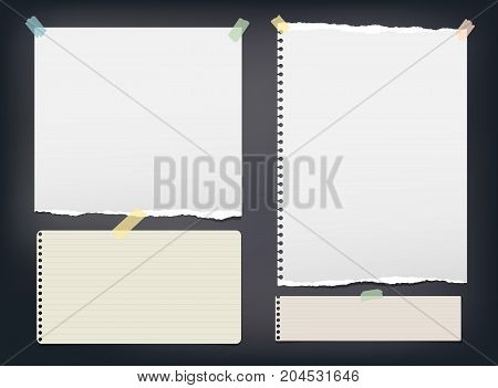 Ripped note, notebook, copybook paper strip, sheets stuck with colorful sticky tape on black background