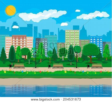 City park and pond, wooden bench, street lamp, waste bin in square. Cityscape with buildings and trees. Sky with clouds and sun. Leisure time in summer city park. Vector illustration in flat style