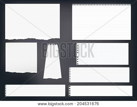 Ripped note, notebook, copybook paper strips, sheets stuck on black background