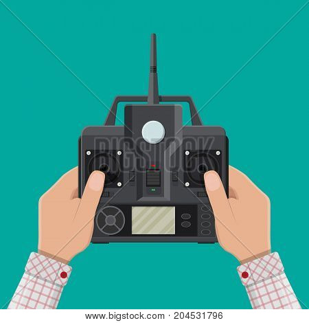 Remote controller for car, drone, fly and other devices and toys. Remote control panel with display and sticks in hand. Vector illustration in flat style