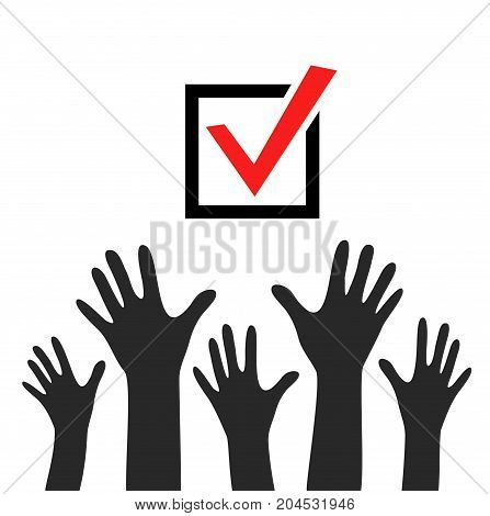 Raised hands vector poster. Black hands on white background with check marks or ticks. checkbox. Web and mobile applications. Acceptance positive passed voting. Red. Flat design.