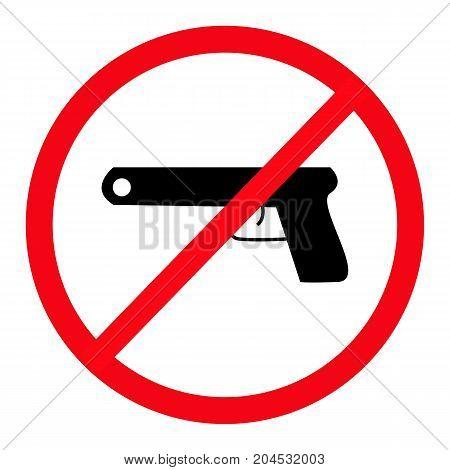 Gun Free Zone on white background vector illustration