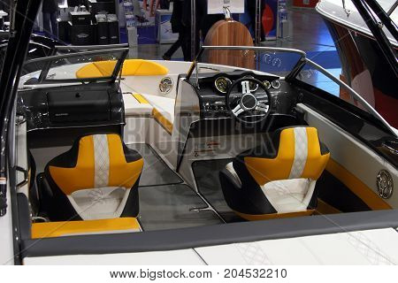 Moscow - March 09 2017: Glastron cockpit interior at the 10 International boat show in Moscow. Russia.