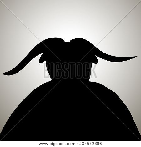 Black devil demon silhouette with horns. Vector demon satan devil horns hell illustration
