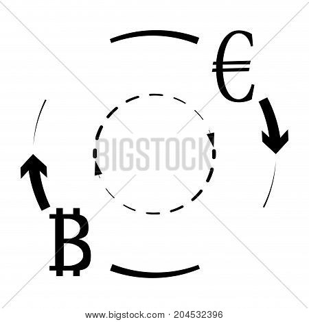 Convert Euro Bitcoin symbol. Crypto exchange currency vector btc transfer to eur. Vector illustration