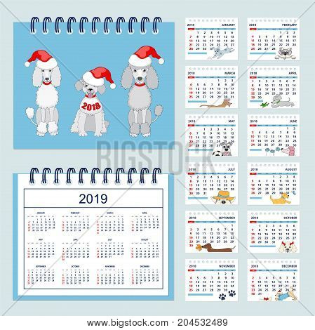 Set of kids american calendar for desk year 2018 with 12-month isolated pages with funny cartoon dogs on pages and cover. Isolated calendar year 2019. English language. Week starts on Sunday. eps 10