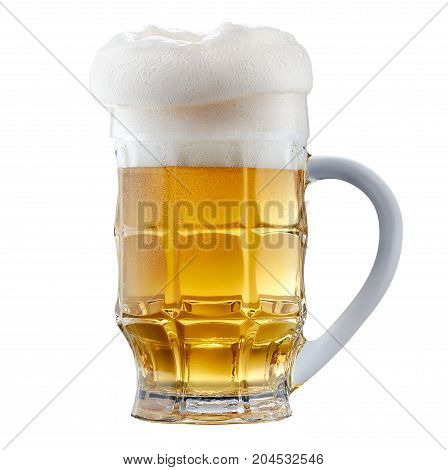 Mug of frosty light beer with foam isolated on a white background