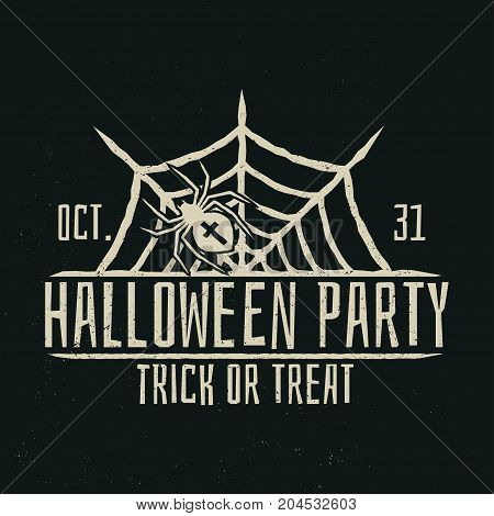 Halloween party vintage badge. Concept for shirt or logo, print, stamp. Spider and web. Halloween typography design- stock vector.