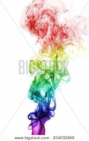 Colorful rainbow smoke isolated on white background. Colors of gay pride. Lbgt concept