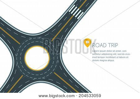 Roundabout Road Junction, Isolated On White Background. Vector Flat Style Illustration With Copy Spa