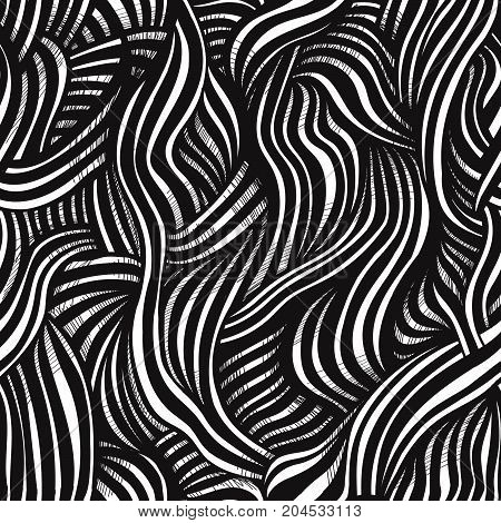 Abstract doodle monochrome seamless pattern background. Sketch haired texture. Vector line  illustration