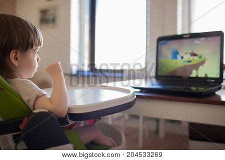 A Little Blond Boy Watching Cartoons On The Laptop While Sitting On Children's Chair