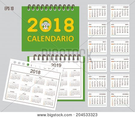 Set of kids american calendar for desk year 2018 with 12-month isolated pages with funny cartoon dog on cover. Isolated calendar year 2019. Spanish language. Week starts on Sunday. eps 10