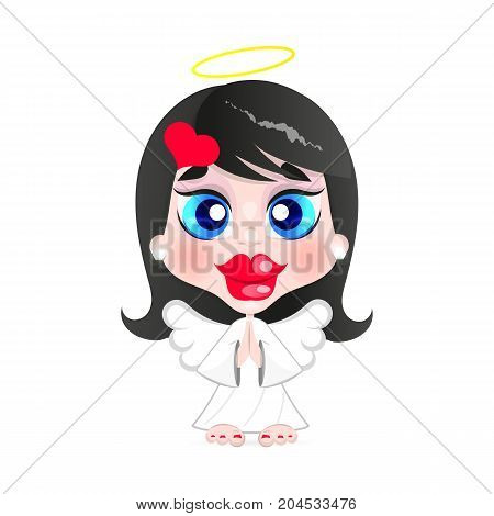 Girl angel with a halo on his head illustration on white background