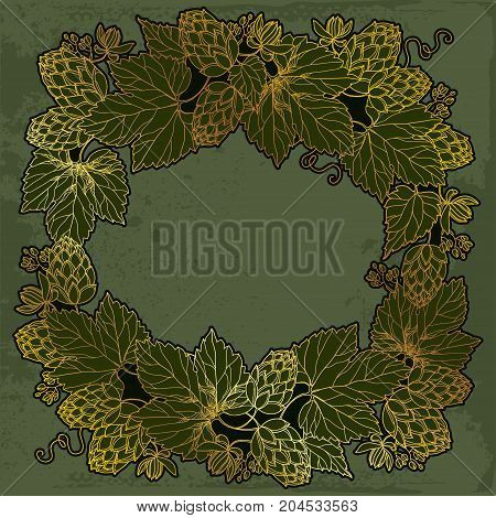 Vector round frame with ornate Hops or Humulus in gold on the vintage dark background. Outline Hops for beer and brewery decor. Herbal elements in contour style for decoration and beer design.