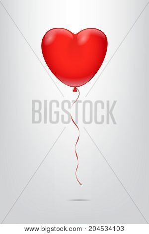 Heart shape red balloon isolated on grey background. Vector illustration.