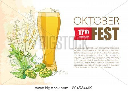 Oktoberfest greeting card with beer glass, Hops and barley ears in pastel. Outline hops and barley for beer festival Oktoberfest and brewery decor. Vector elements in contour style for brewery design.
