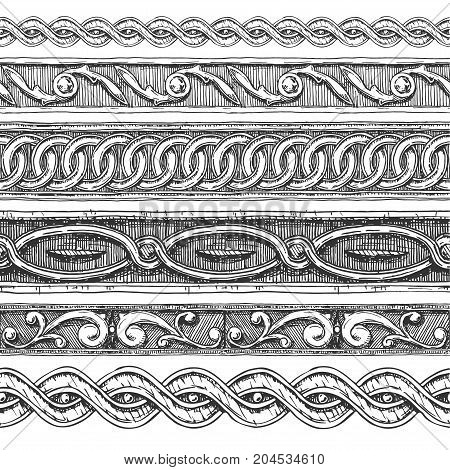 5 Vector vintage baroque seamless borders moldings stylized as engraving.