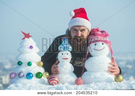 Santa Man Shouting With Snowy Sculptures