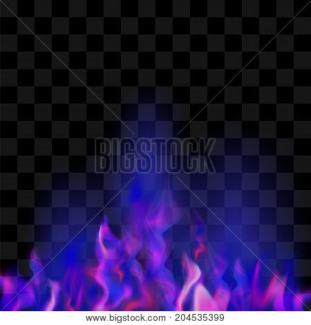 Blue Burning Fire Flame on Checkered Background