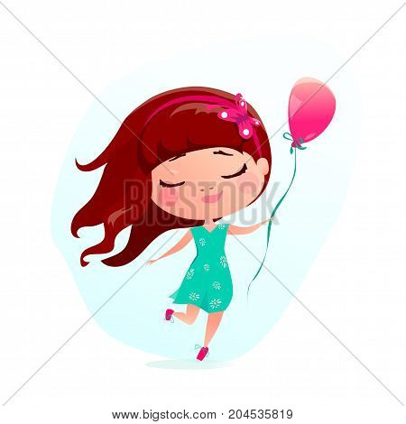Vector illustration of happy little girl with pink balloon. Jumping and running from joy, happiness cute girl wearing on green dress with chamomile