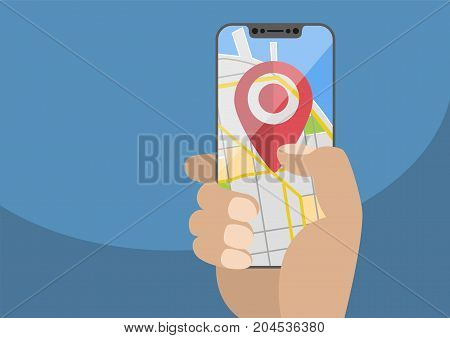 Concept of location / GPS based services on mobile devices. Current location symbol displayed on frameless touchscreen. Hand holding modern bezel-free smartphone,