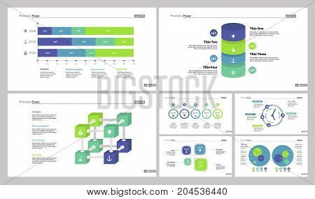 Infographic design set can be used for workflow layout, diagram, annual report, web design. Business and marketing concept with timeline, comparison, percentage, area and organizational charts