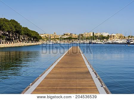 Pieta - September 16: New floating pier in the gulf of Pieta in Malta September 16 2017 Malta