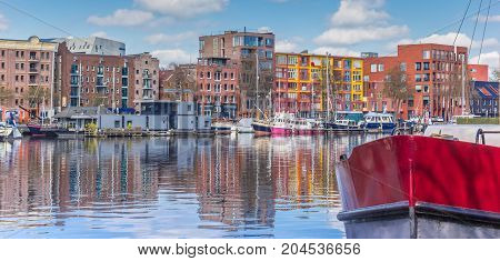 Panorama Of A Red Bow In The East Harbor Of Groningen