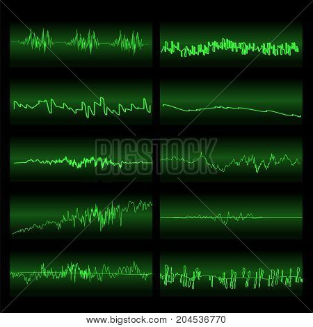 Green Sound Waves Set. Screen of Equalizer. Musical Vibration Graph. Radio Wave Amplitude